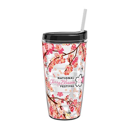 Cherry Blossom Tritan Double Wall Tumbler w/Straw