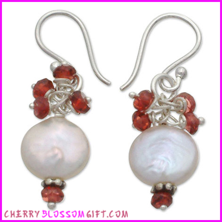 Cherry Blossom Pearl and Garnet Earrings