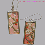 Japanese Washi Paper Earrings Sterling Silver