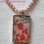 Japanese Washi Paper Sterling Silver Necklace